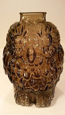 Wise Old Owl Libbey Glass Piggy Bank Brown Pressed Glass Vintage