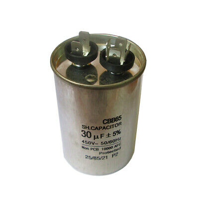30MFD 30uF Motor Run Capacitor 450VAC 50/60Hz Round Metallized