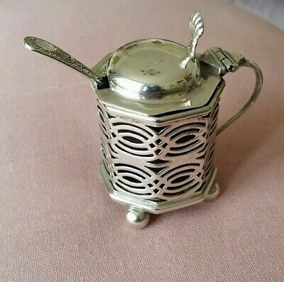 Antique Silver Mustard Pot 1901 and Spoon 1886