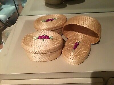 Haitian Straw Basket - Small Trinket Basket with Cover