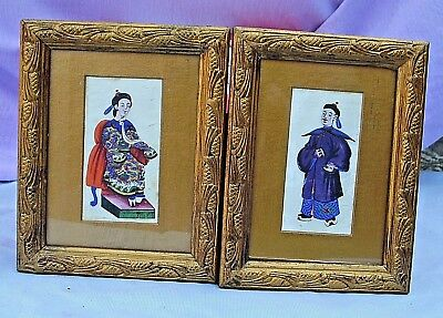 Pair Of Antique Framed & Glazed Oriental Water Colour Paintings On Rice Paper