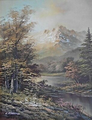 Large Framed Oil On Board Oil Painting Forest Mountain Scene Signed L Hardinet?