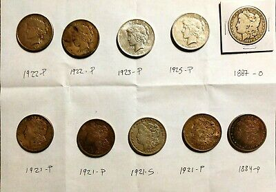 Morgan and Peace Silver Dollar Lot of 10 Coins Various Dates