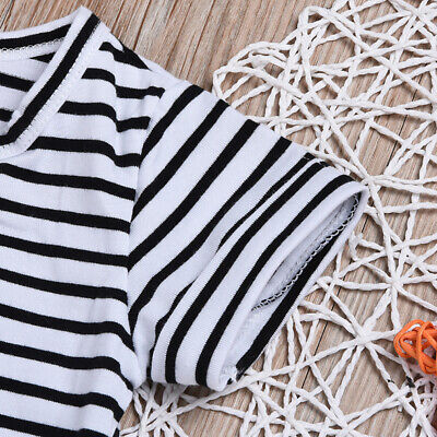 Kids Baby Girl Striped Cotton Blend One Piece Bodysuit Romper Size 70cm-100cm N7