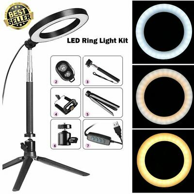 20cm Dimmable Live LED Ring Light Kit with Stand for Makeup Phone Camera Selfie