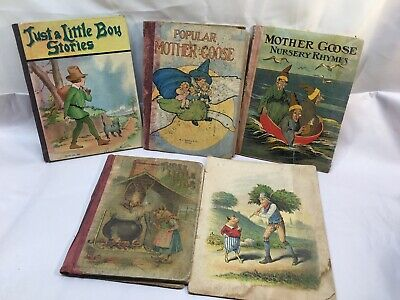 5-vintage Late 1800's-early 1900's Children's Books Nursery / Mother Goose