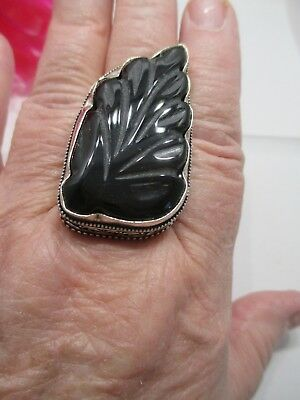 Sterling Silver Plated Carved Black Onyx Leaf Ring Size 9.5 Made In India