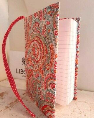 Liberty Print Pink Paisley A6 Small Note Book Cover Sleeve Jacket Lined Diary