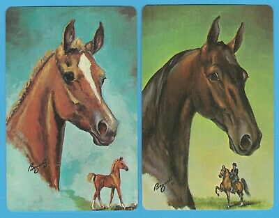 2 Single VINTAGE Swap/Playing Cards HORSES HORSE HEADS + FOAL Artist BOGUCKI