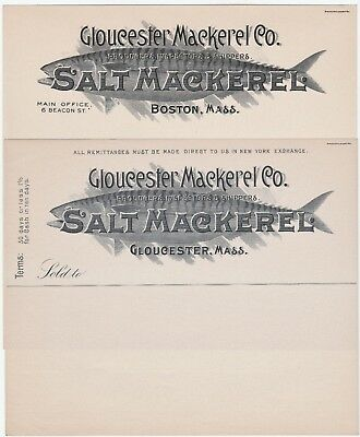 RARE Billhead & Letterhead LOT - Gloucester MA Mackerel Co Advertising Fish 1880