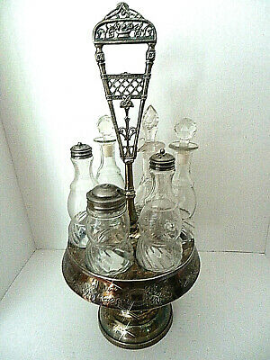 Antique Victorian 6-bottle Cruet Set Silverplated Revolving Stand Circa 1800's *