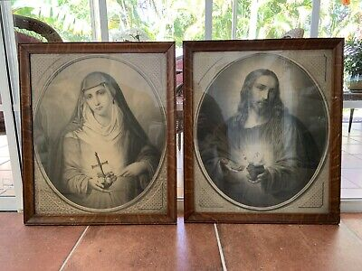 Heaven Religious Jesus Mary Picture Framed Church Super Rare Amazing!