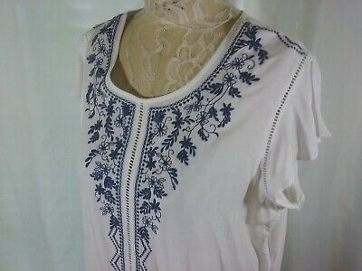 5f11528846205c Time Tru Womens Tunic Top Embroidered Flutter Sleeve Side Tie Plus Sz XXL  (20)