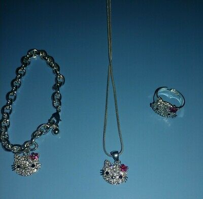 28a18c79d Hello Kitty: Silver Bling Necklace, Bracelet & Ring Set - Avon/2003