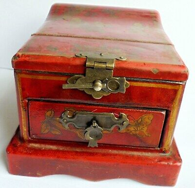 Beautiful Antique or Vintage Wooden Jewellery chinese style box with mirror.