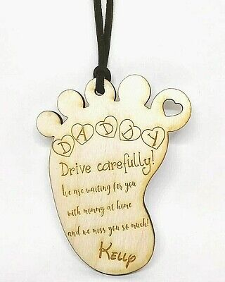 Personalised Wooden Car Mirror Hanging Pendant Baby Foot Daddy Mommy