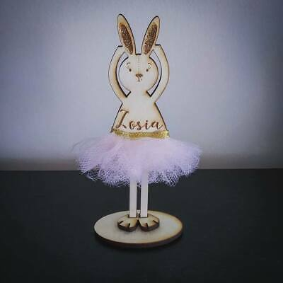 Wooden Personalised Cute Standing Bunny with Name Baby Girl