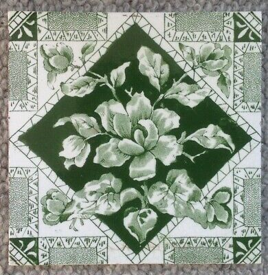"EYE CATCHING. genuine victorian tile,. 6x6"" GREEN and WHITE.VGC"