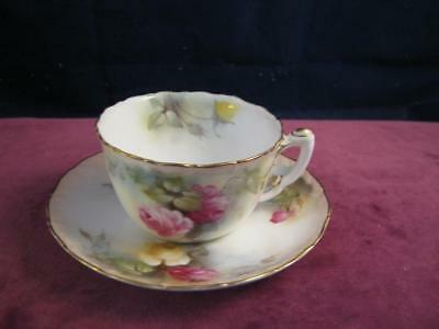 Lovely Royal Worcester Hand Painted Cup and Saucer  Pink & Yellow Hadley Roses