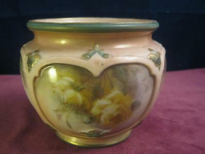 Hadley's  Worcester Hand Painted Yellow Roses Jardinere / Bowl / Vase royal