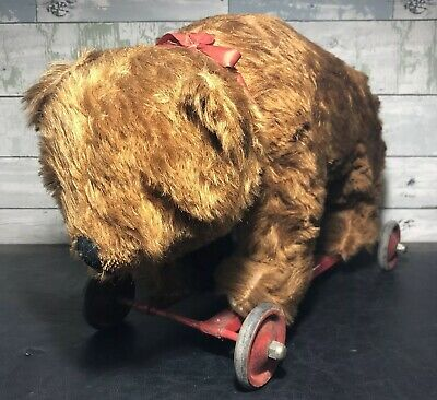 Antique German Mohair Bear Pull Toy On Wheels Bing? Steiff ?