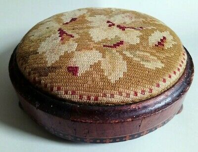 Antique Victorian inlaid footstool with original woolwork cushion c1870