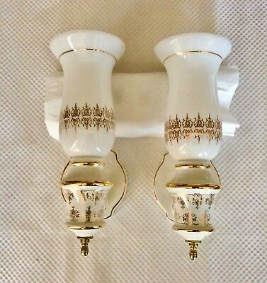 Pair (2) Vintage Ceramic Porcelain Sconce Wall Light Fixture w/Matching Shades