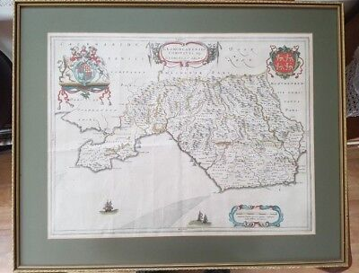 GLAMORGANSHIRE antique map by Joan Bleau 1645  SOUTH WALES