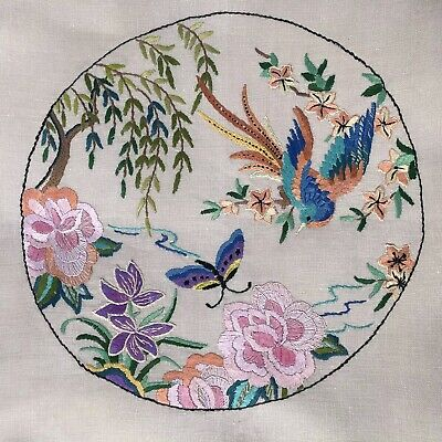 Vintage Hand Embroidered Linen Cushion Cover Panel~Bird Of Paradise Butterfly