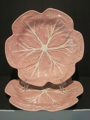 Set 2 Cabbage Pink Dinner Plates by Bordallo Pinheiro Portugal EUC