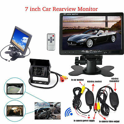 "Wireless Bus Truck Van 7"" LCD Monitor 18 IR LED Reversing Camera Rear View Kit"