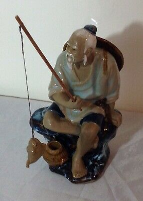 Vintage Chinese Mud Man Fisherman with Fish and Fishing Rod Figurine