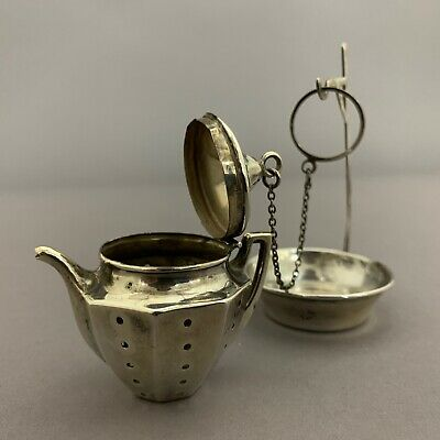Vintage Sterling Silver Tea Ball Strainer Infuser with Stand Tea Pot Shape