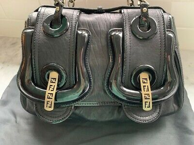 7acf9adbb1 Fendi B Bag - Black Leather with Patent Leather Accents - Barely Ever Used