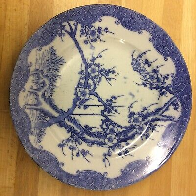Early 20th Century Nippon Marked Blue And White Prunus Blossom Plate