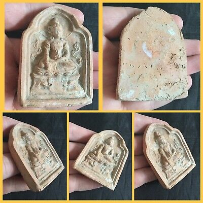 Rare Antique Thai Terracotta Votive Plaque Buddga  Buddest C15Th 16Th Cent Ad