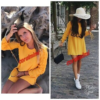 741241a24c NEW ZARA YELLOW Dress with Frilled Sleeves size XS Long Sleeve ...