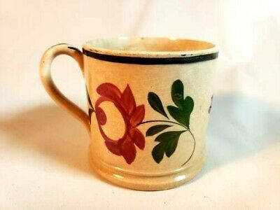 Antique Staffordshire 1820s Soft Paste Child's Mug Flowers