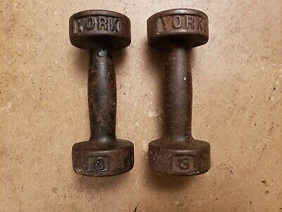 York Barbell SINGLE 3lb Round Head Dumbbells Pre USA Vintage Cast Iron lbs pound