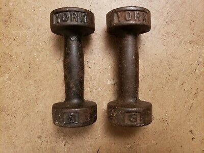 York Barbell two 3lb Round Head Dumbbells Pre USA Vintage Cast Iron lbs pound