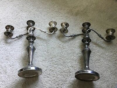 Vintage Pair Of Silver Over Copper Candelabra/Candle Holders