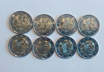 LOT 8 x 2 EUROS € COMMEMORATIVES SLOVAQUIE 2017 ET 2018 PIECES NEUVES DE ROULEAU