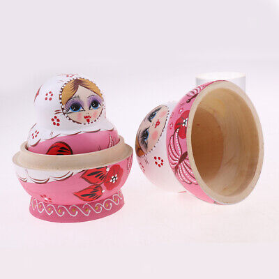 Handmade 10PCS Wood Russian Nesting Doll Stacking Babushka Matryoshka Pink
