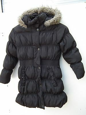 Next Coat Girls Age 7 - 8  Long Black Quilted Jacket School