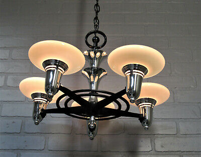 Vintage Antique Art Deco Slip Shade Chandelier 5 Light Black Chrome Custard