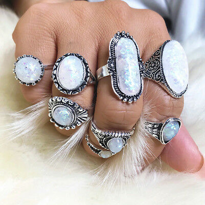 8 Pcs Ladies Ring White Fire Opal Finger Rings Knuckle Ring Bohemian Jewelry KI