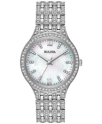 Bulova Quartz Crystal Accent MOP Dial Stainless Steel Ladies Watch 96L242