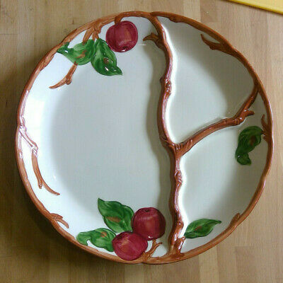 """VTG 50s Franciscan Earthenware USA RED Apple Pattern GRILL PLATE 11"""""""
