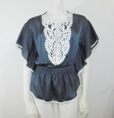Size Small Moa Moa MM Navy Blue Gray Womens Top Silky