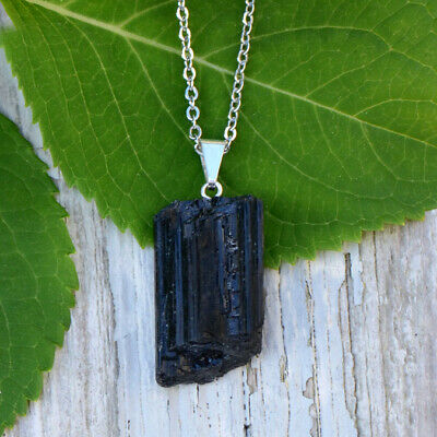 Black Tourmaline Rough Mineral Pendant Necklace Stainless Steel 20""